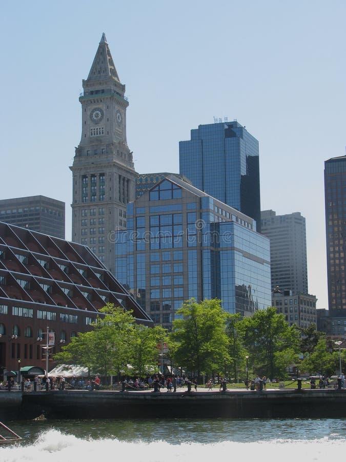 Boston wharf. Boston Custom House behind the Marriott long wharf in Boston Massachusetts royalty free stock photos