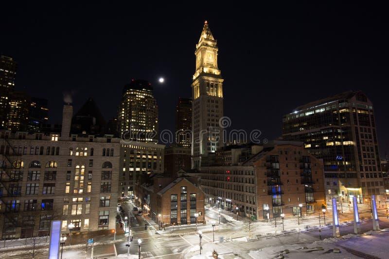 Boston Wharf District. A street scene in Boston stock image
