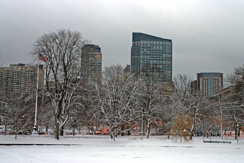 Boston Winter. Snowy winter at Boston, Massachusetts, USA royalty free stock images