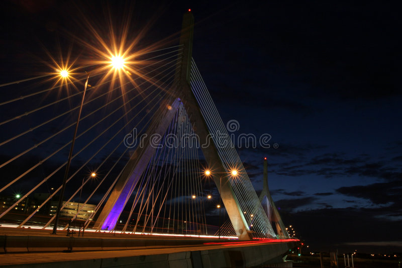 Boston Zakim bridge. Bridge at night royalty free stock photos