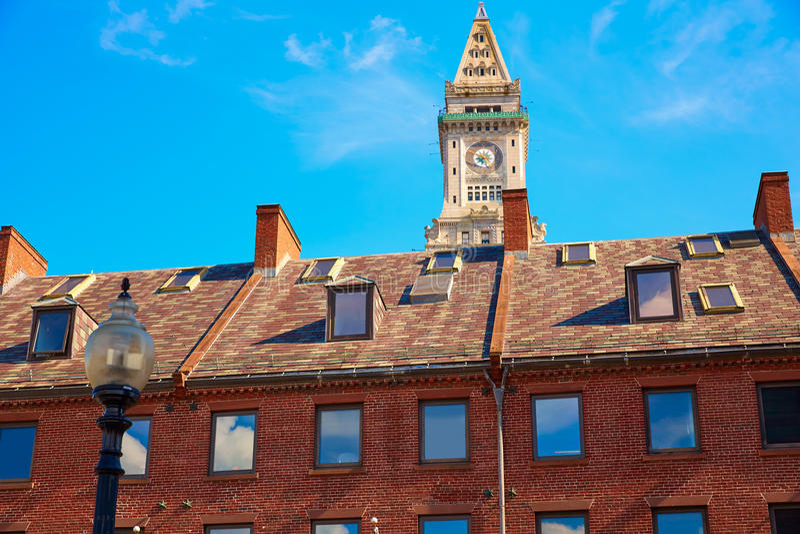 Boston Zegarowy wierza Obyczajowy dom Massachusetts obraz royalty free