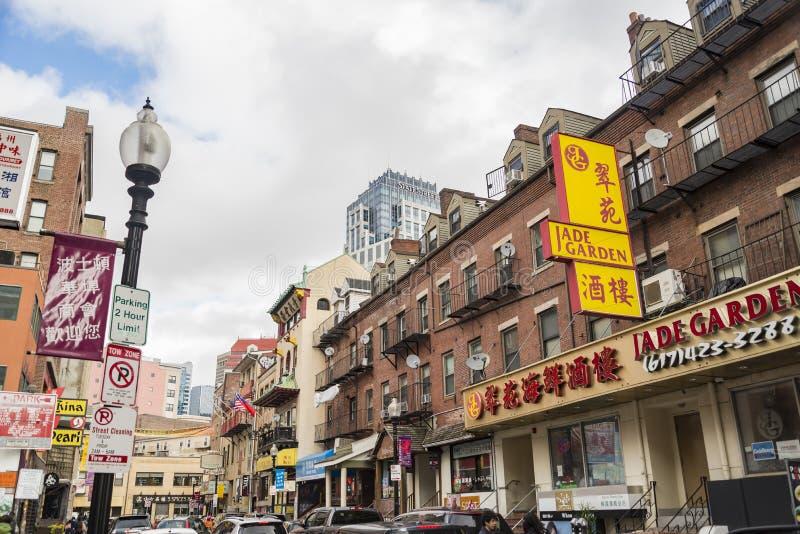 Bostons Chinatown ist der einzige Bezirk Überlebens Chinatown in Neu-England Region von Vereinigten Staaten lizenzfreies stockfoto