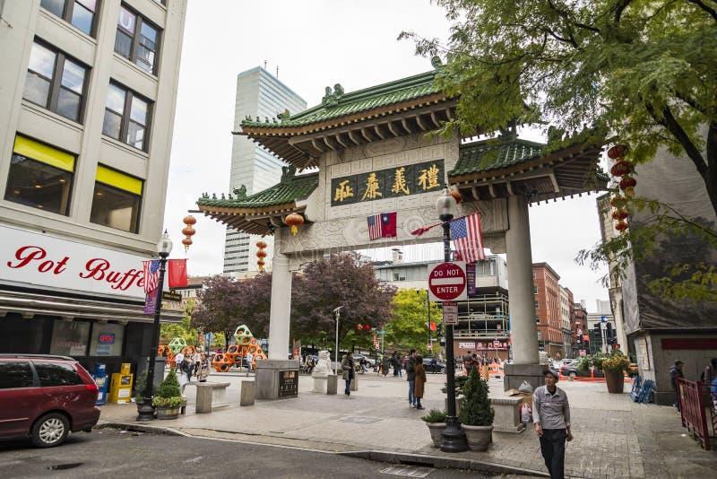 Bostons Chinatown ist der einzige Bezirk Überlebens Chinatown in Neu-England Region von Vereinigten Staaten lizenzfreies stockbild