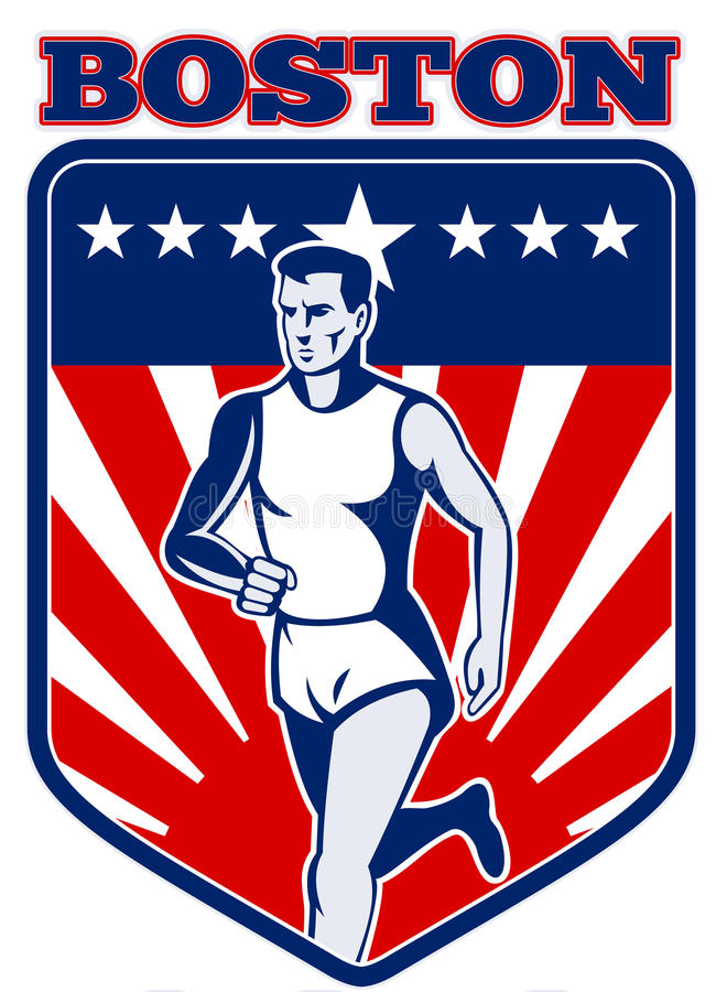 bostonu maratonu biegacz ilustracja wektor