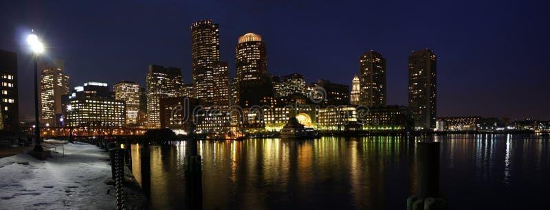 bostonu noc panoramy linia horyzontu obrazy stock