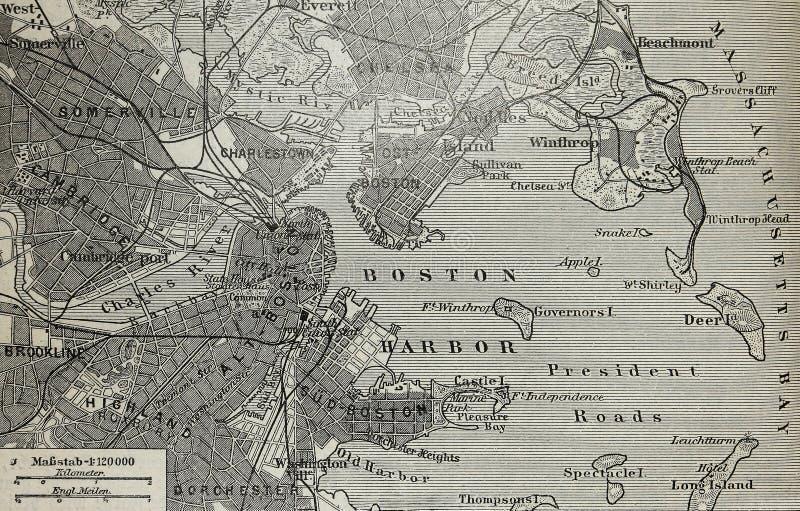 bostonu schronienia mapa stara zdjęcie royalty free