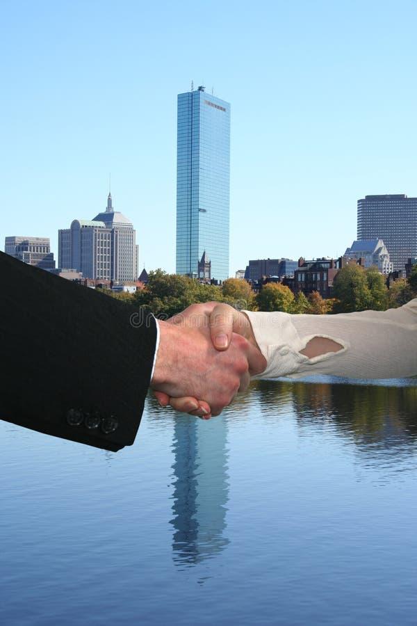 bostonu uścisku dłoni linia horyzontu obraz royalty free