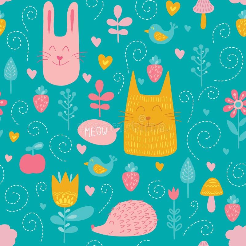 Bosvrienden vector naadloos patroon Jonge geitjes blauwe achtergrond met leuke dieren, vogels en planten stock illustratie