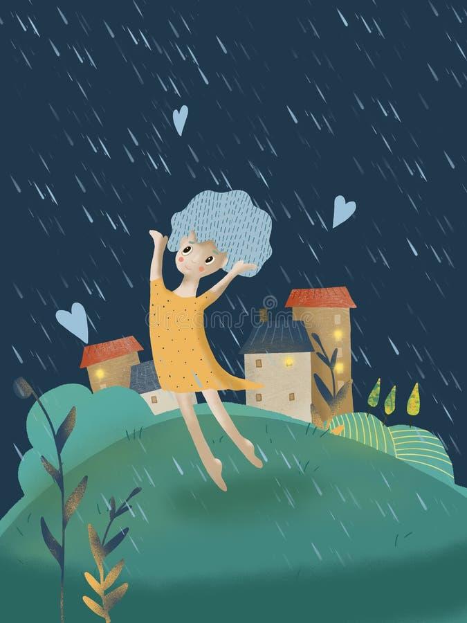 Bosy dziewczyny doskakiwanie na ulicie w deszczu w żółtej sukni royalty ilustracja