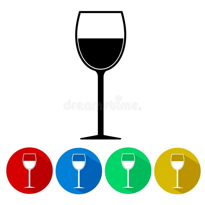Botão ajustado do ícone da silhueta do vidro de vinho isolado ilustração do vetor