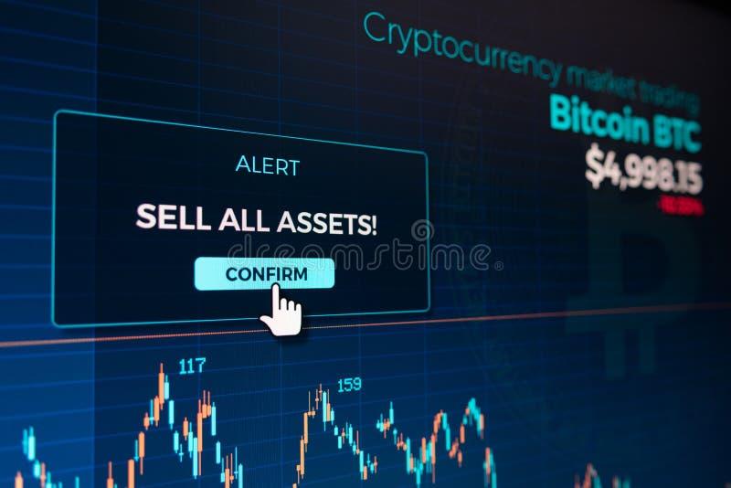 Botão alerta da confirmação na tela da carta do gráfico do cryptocurrency de Bitcoin ilustração stock