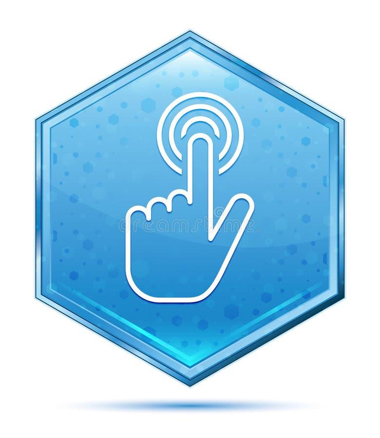 Botão azul de cristal do hexágono do ícone do clique do cursor da mão ilustração do vetor