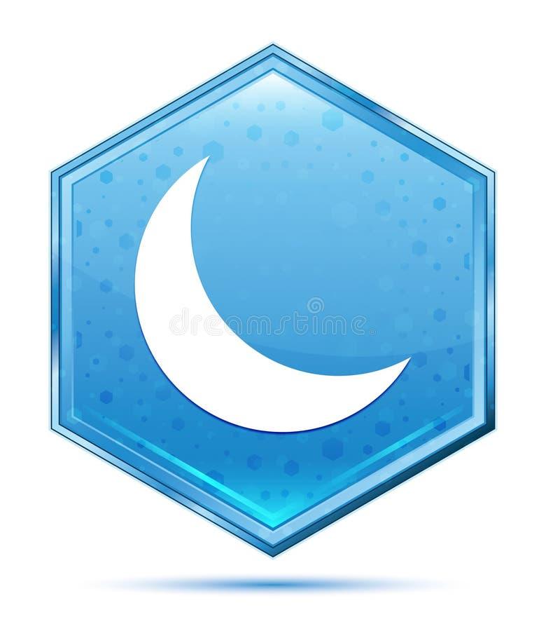 Botão azul de cristal do hexágono do ícone crescente da meia lua ilustração royalty free
