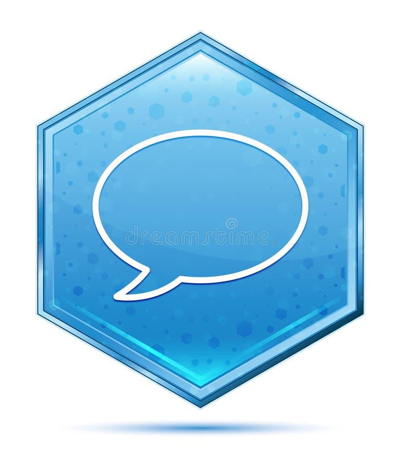 Botão azul de cristal do hexágono do ícone da bolha do bate-papo ilustração stock
