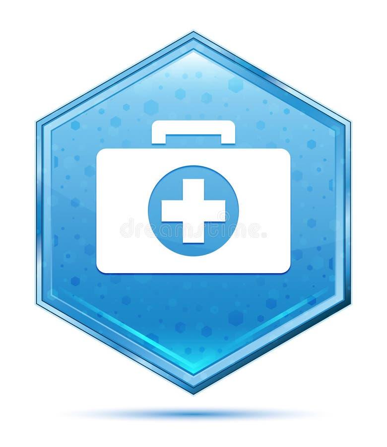 Botão azul de cristal do hexágono do ícone do kit de primeiros socorros ilustração stock