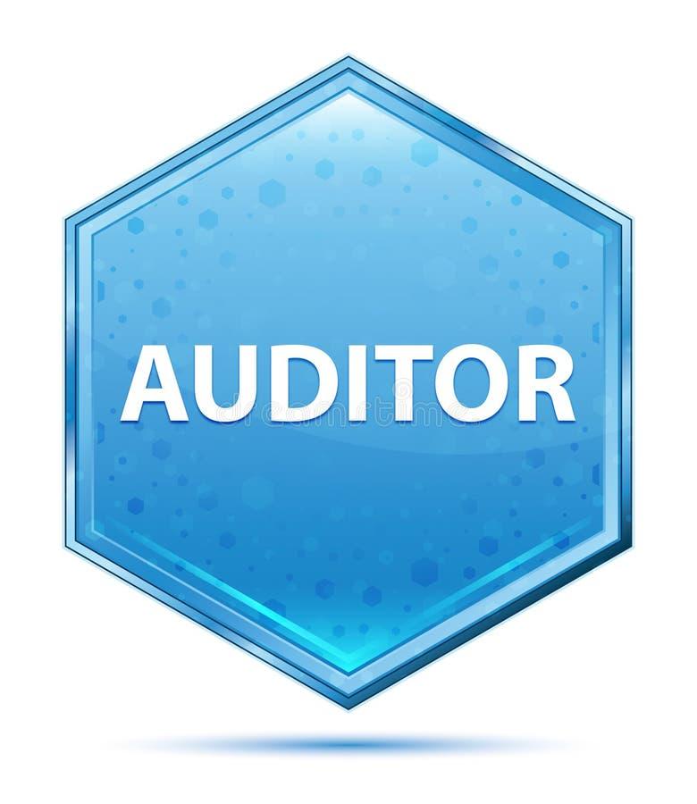 Botão azul de cristal do hexágono do auditor ilustração do vetor