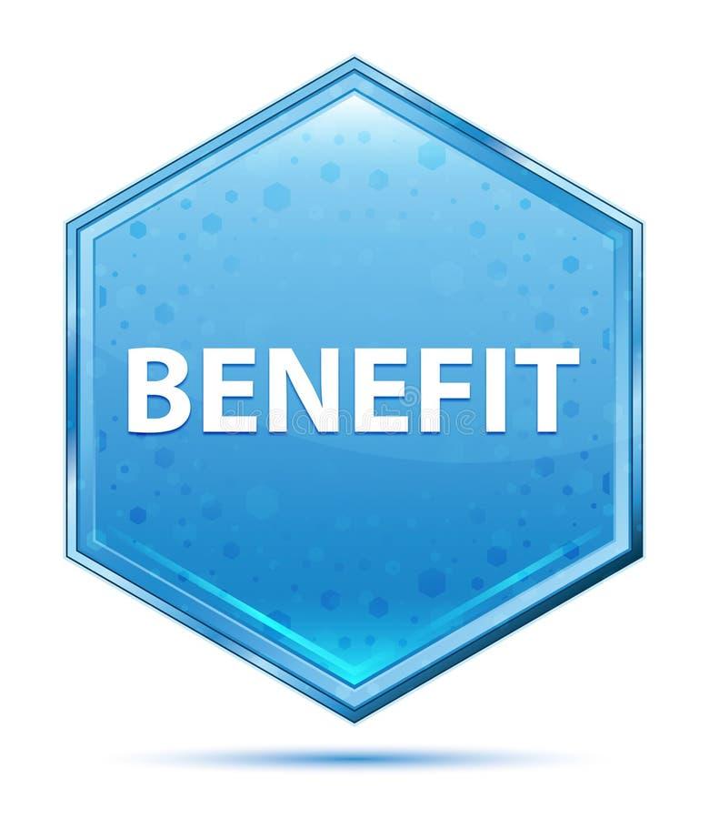 Botão azul de cristal do hexágono do benefício ilustração stock