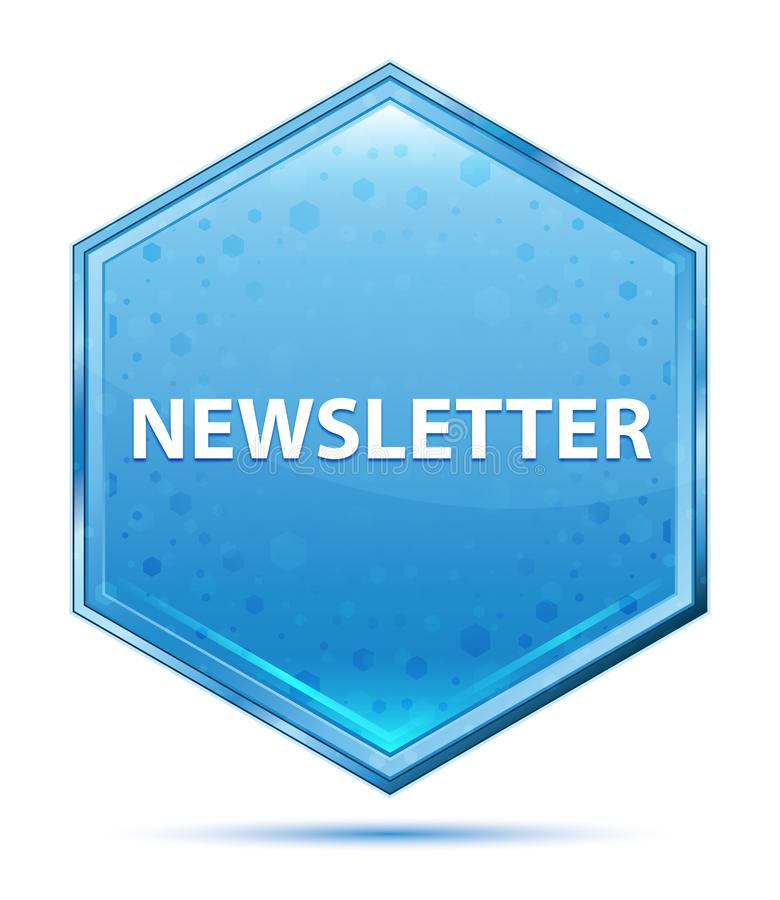 Botão azul de cristal do hexágono do boletim de notícias ilustração do vetor