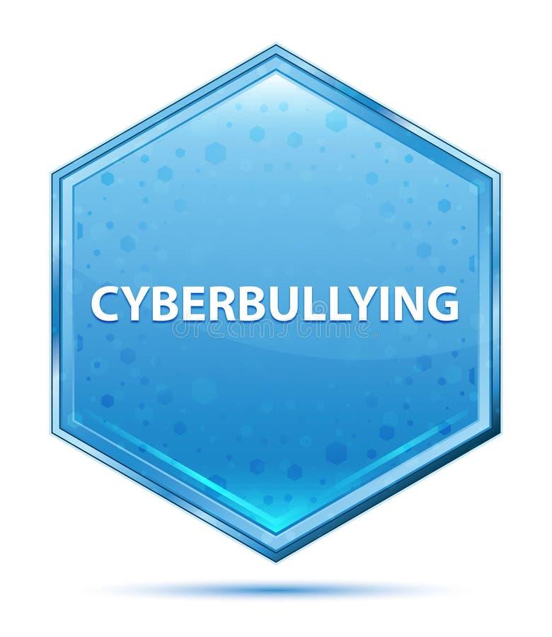 Botão azul de cristal do hexágono de Cyberbullying ilustração stock