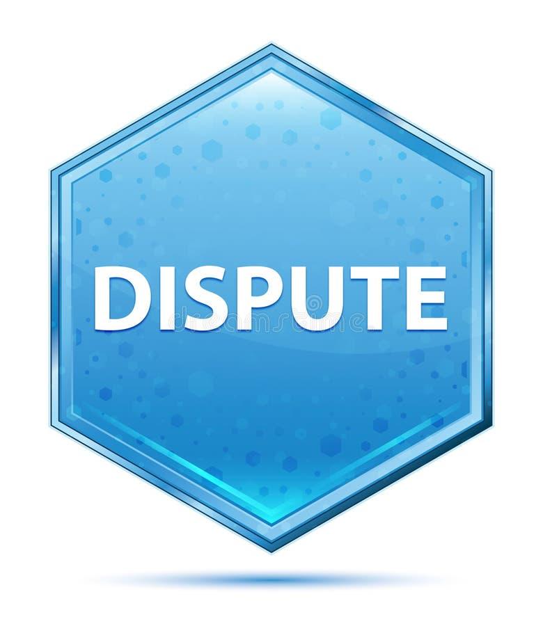 Botão azul de cristal do hexágono da disputa ilustração stock