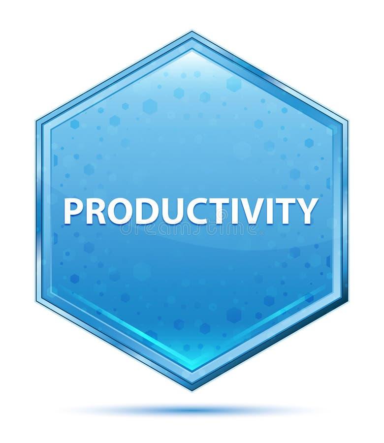 Botão azul de cristal do hexágono da produtividade ilustração do vetor