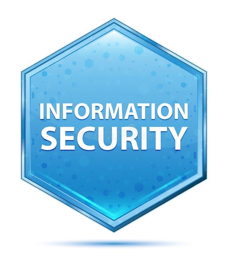 Botão azul de cristal do hexágono da segurança da informação ilustração stock
