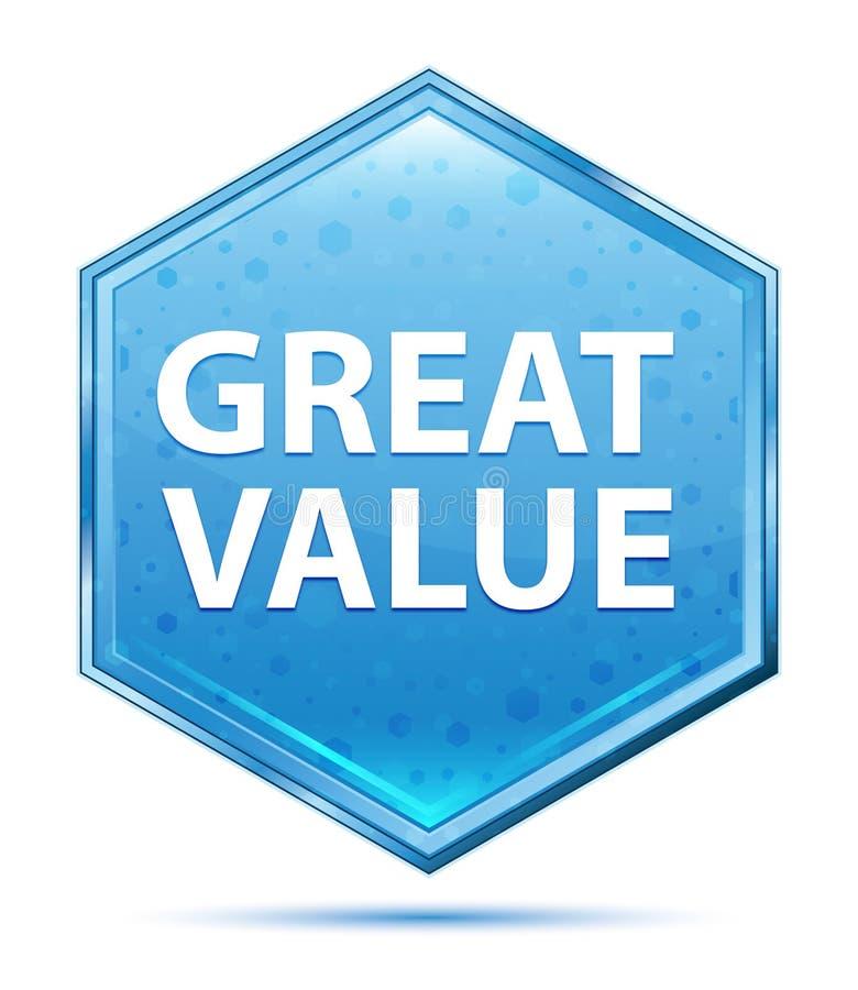 Botão azul de cristal do hexágono do grande valor ilustração royalty free