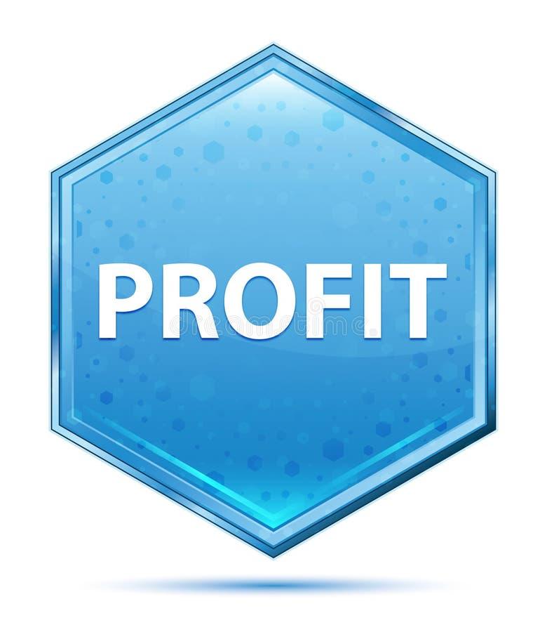 Botão azul de cristal do hexágono do lucro ilustração stock