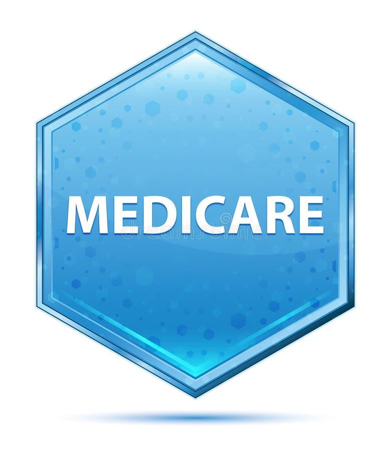 Botão azul de cristal do hexágono de Medicare ilustração royalty free