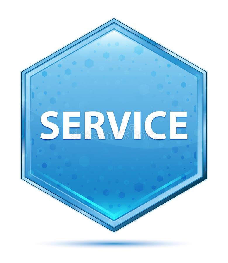 Botão azul de cristal do hexágono do serviço ilustração stock