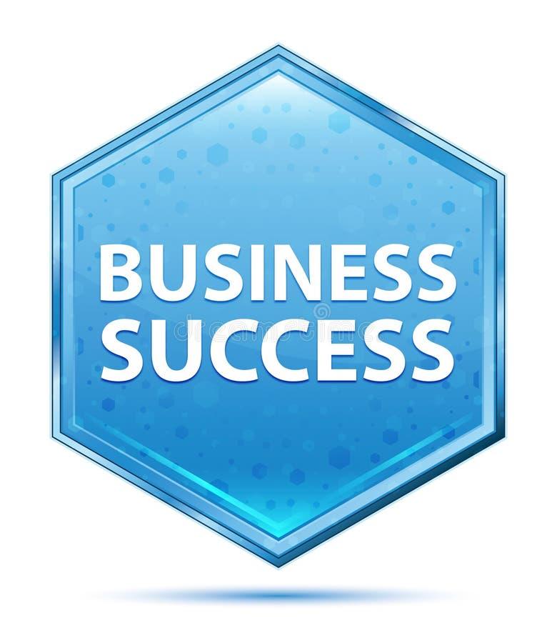 Botão azul de cristal do hexágono do sucesso comercial ilustração royalty free