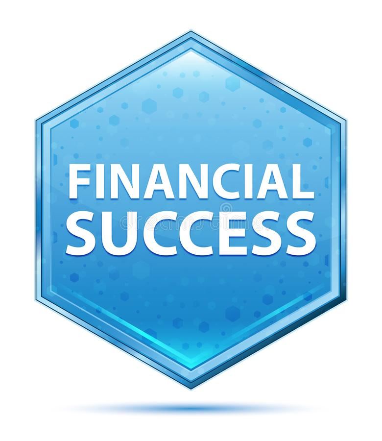 Botão azul de cristal do hexágono do sucesso financeiro ilustração do vetor
