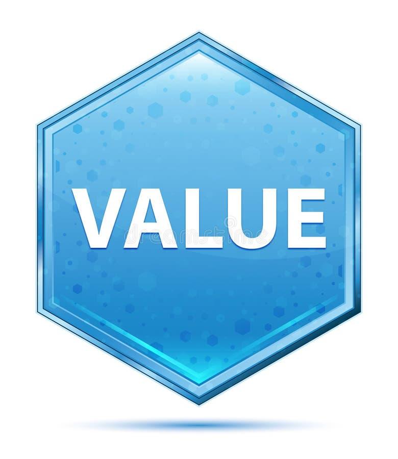 Botão azul de cristal do hexágono do valor ilustração stock