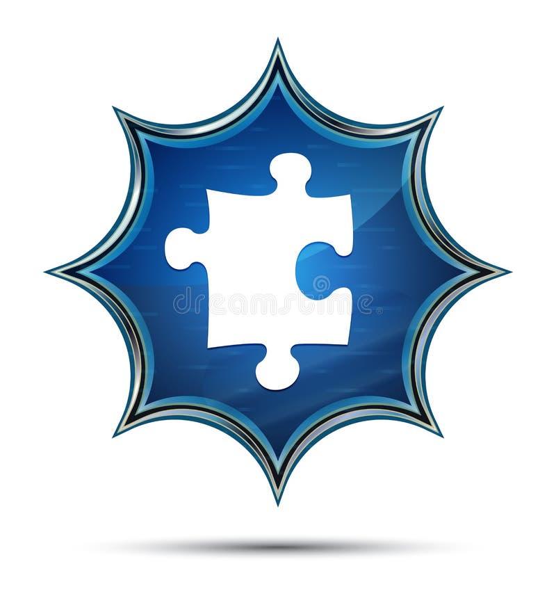 Botão azul sunburst vítreo mágico do ícone do enigma ilustração stock