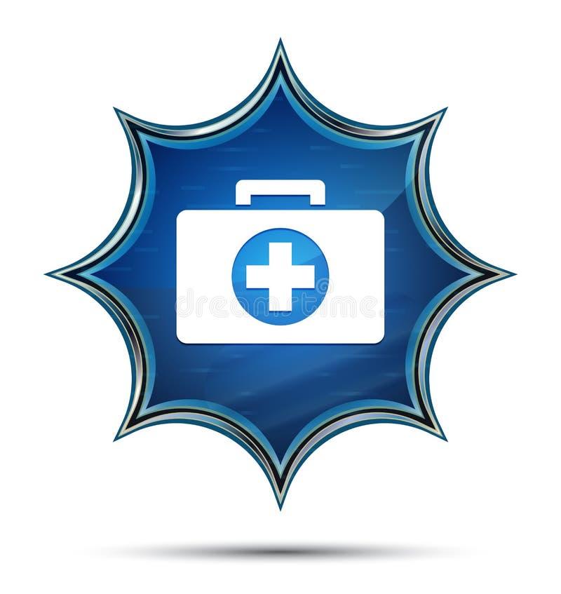 Botão azul sunburst vítreo mágico do ícone do kit de primeiros socorros ilustração royalty free