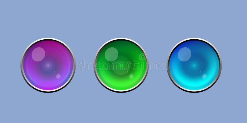 Botão brilhante bonito do olho com grupo de prata do vetor da beira foto de stock