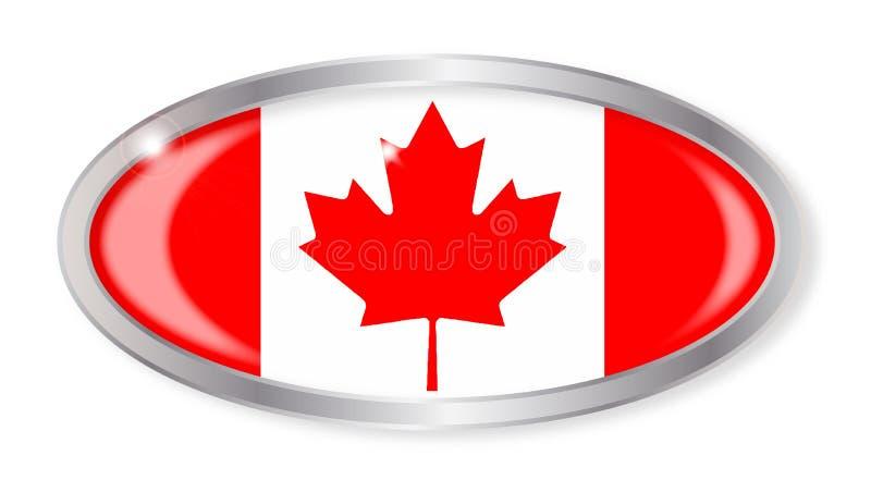 Botão canadense do Oval da bandeira ilustração stock