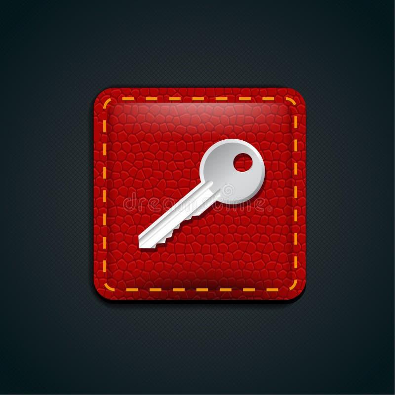 Botão chave do couro do ícone ilustração stock