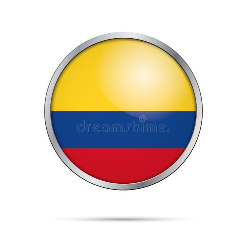 Botão colombiano da bandeira do vetor Bandeira de Colômbia no styl de vidro do botão ilustração royalty free