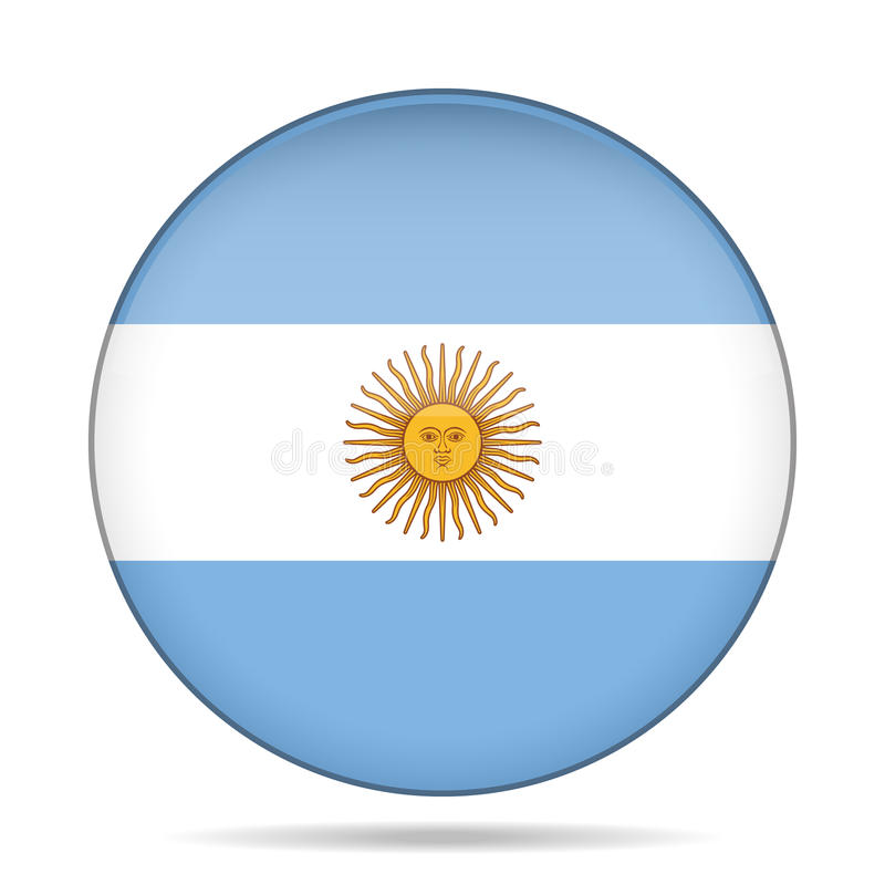 Botão com a bandeira de Argentina ilustração stock