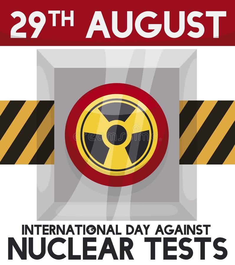 Botão com a fita de advertência para o dia internacional contra provas nucleares, ilustração do vetor ilustração do vetor