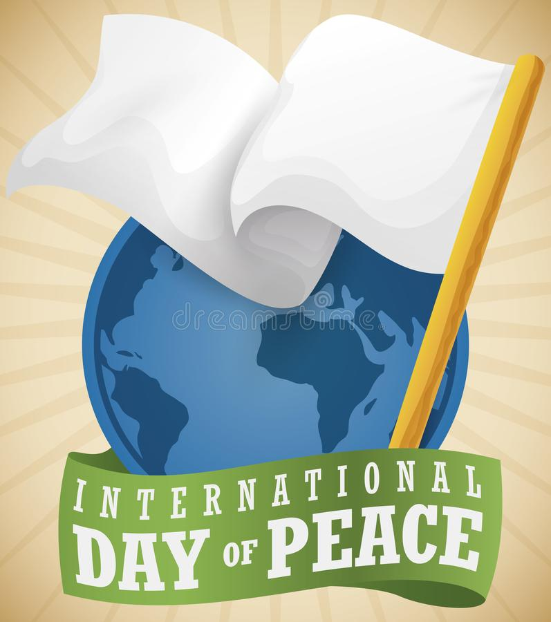 Botão com globo e bandeira branca para o dia da paz, ilustração do vetor ilustração royalty free