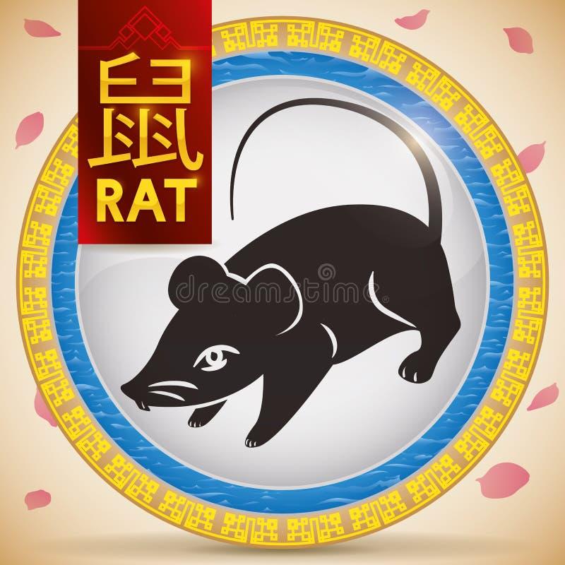 Botão com o rato chinês do zodíaco e elemento fixo: Água, ilustração do vetor