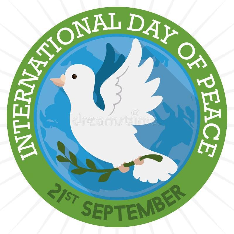 Botão com pomba e globo do branco para o dia internacional da paz, ilustração do vetor ilustração stock