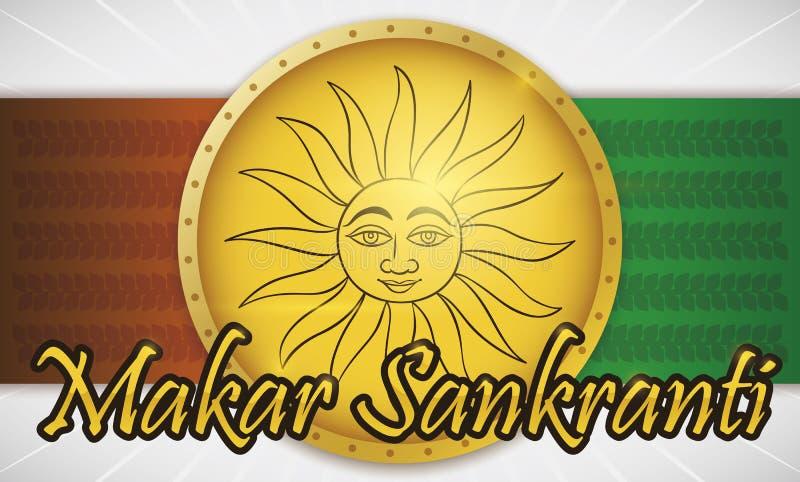 Botão com Sun dentro dele para a celebração de Makar Sankranti do indiano, ilustração do vetor ilustração royalty free