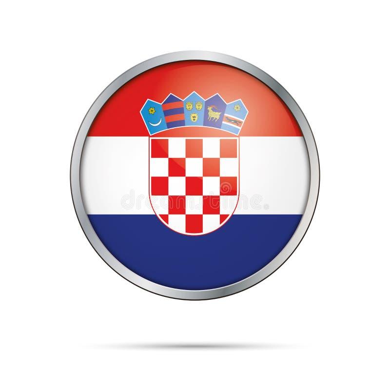 Botão croata da bandeira do vetor A Croácia embandeira no estilo de vidro do botão ilustração royalty free