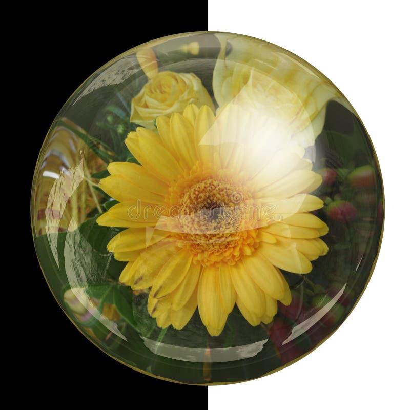 botão 3D redondo lustroso com flor real fotos de stock royalty free