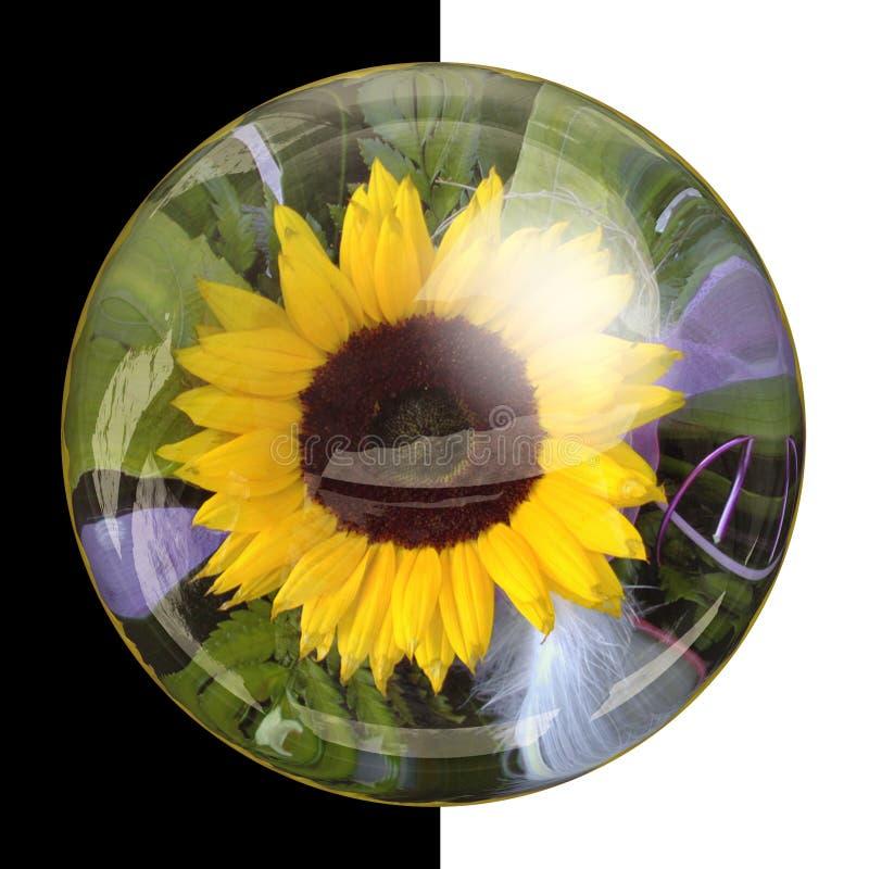 botão 3D redondo lustroso com flor real fotos de stock