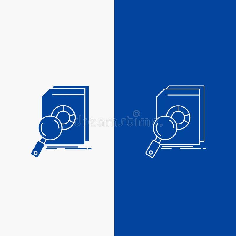 Botão da análise, dos dados, o financeiro, do mercado, da linha da pesquisa e do Glyph da Web na bandeira vertical da cor azul pa ilustração royalty free
