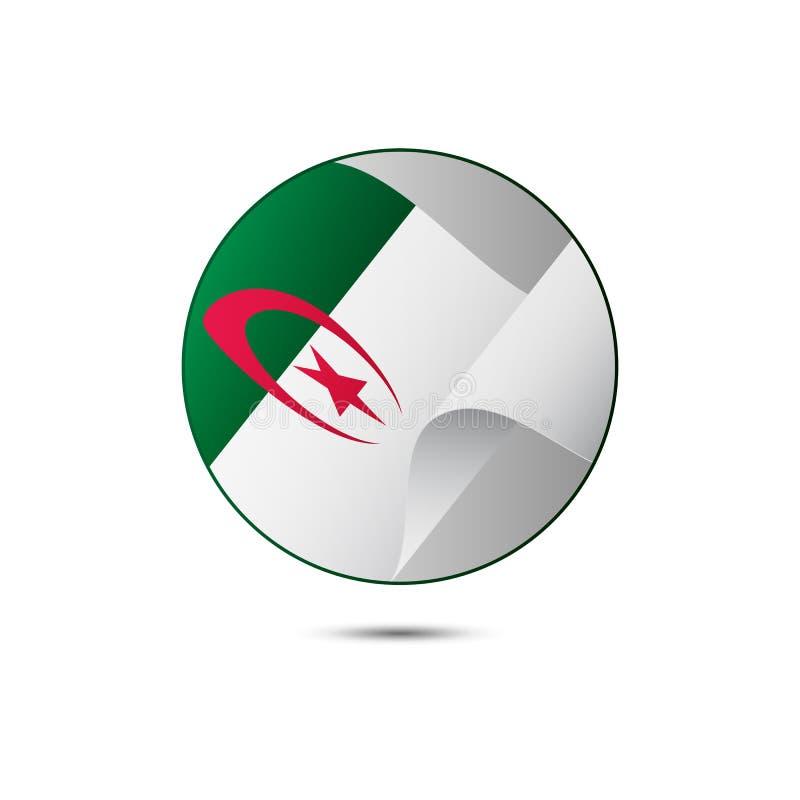 Botão da bandeira de Argélia com sombra em um fundo branco Ilustração do vetor ilustração do vetor